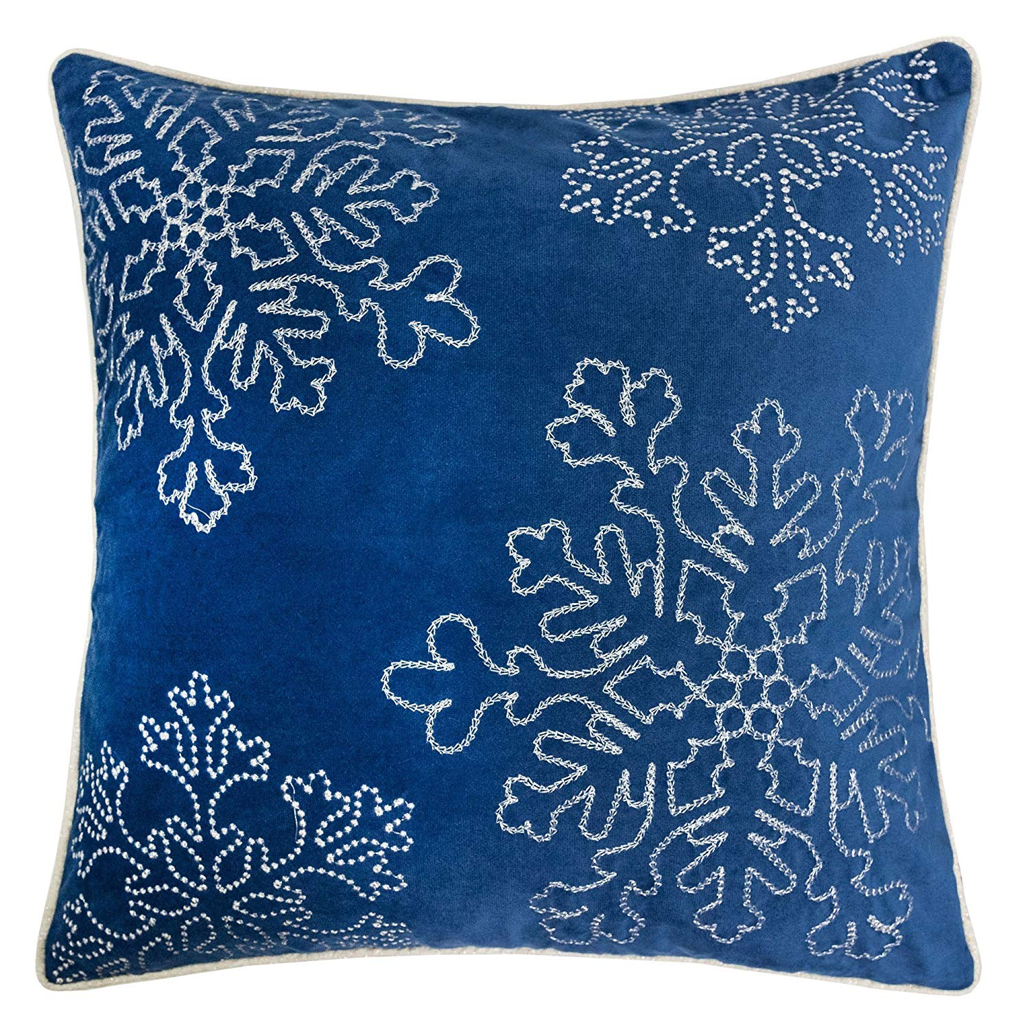 Velvet Navy Snowflake Pillow Cover