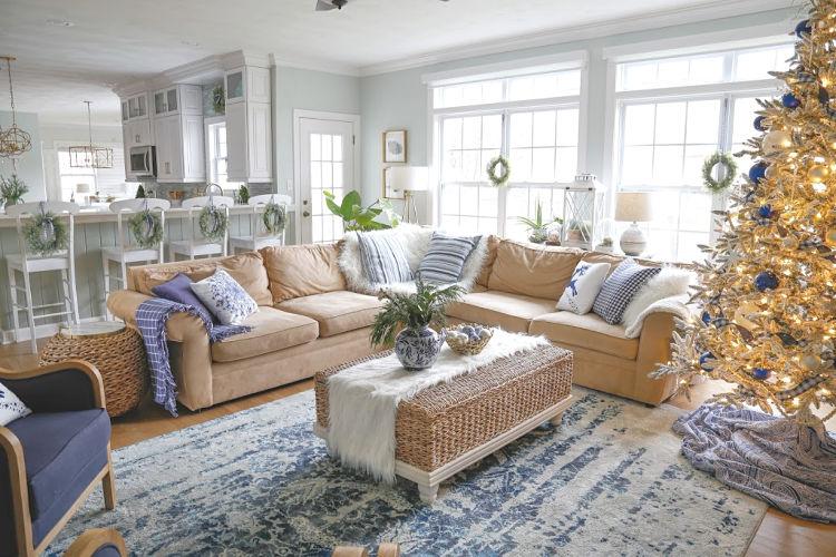 Blue Christmas Living Room