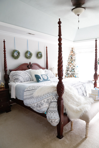 Cozy British Colonial Coastal Christmas Bedroom