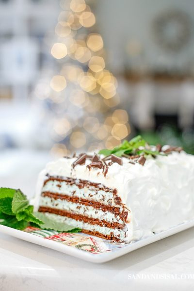 Mint Chocolate Chip Ice Cream Sandwich Holiday Cake