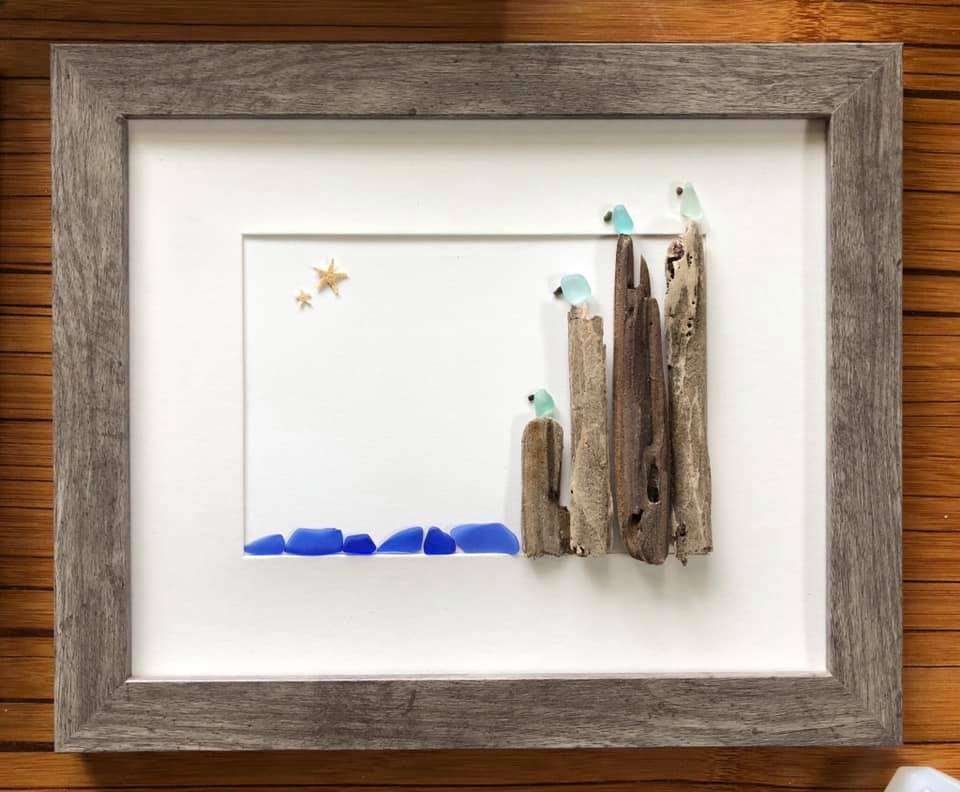 Beach Art- Heidi Peters - Driftwood Pier and Seagulls