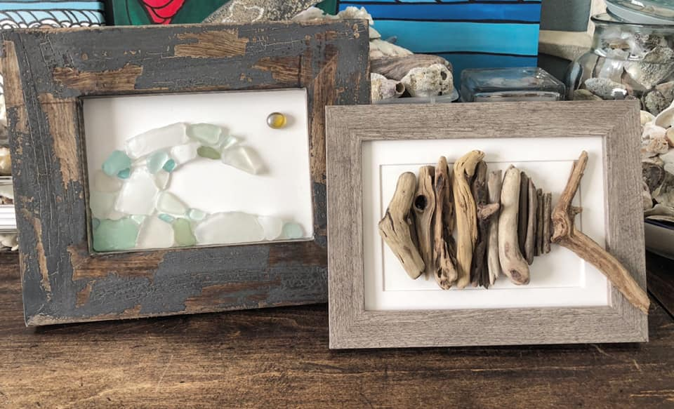 Beach Art - Heidi Peters - Sea Glass Wave - Driftwood Fish