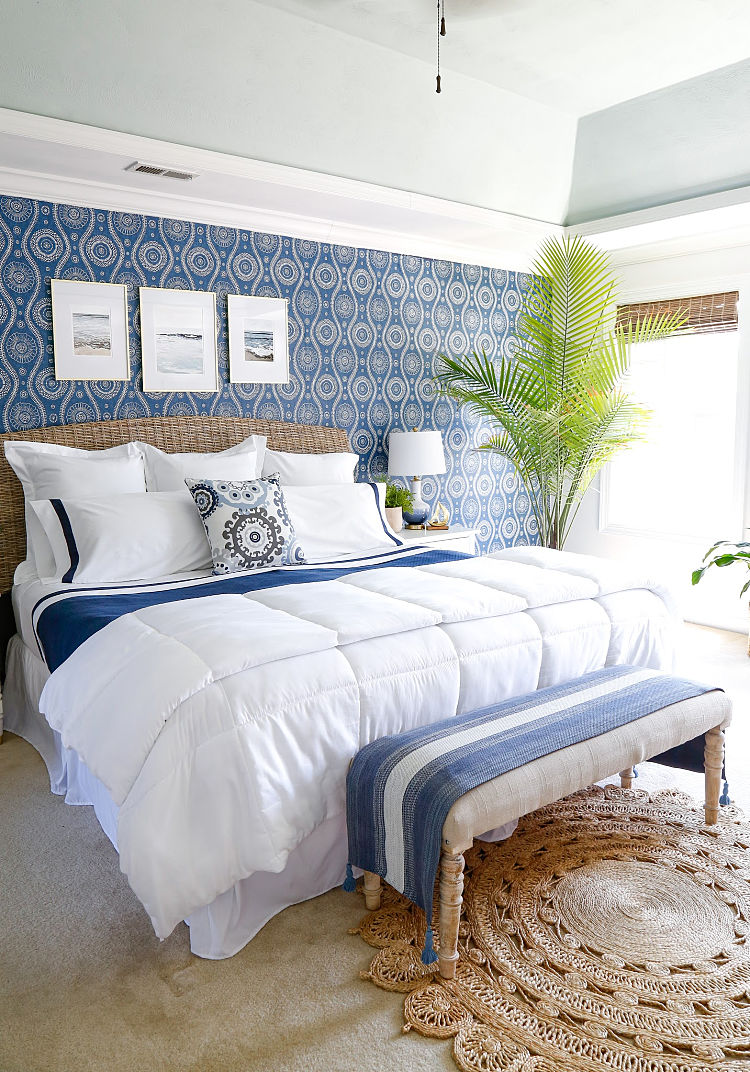 Coastal Blues Master Bedroom Makeover - Sand and Sisal
