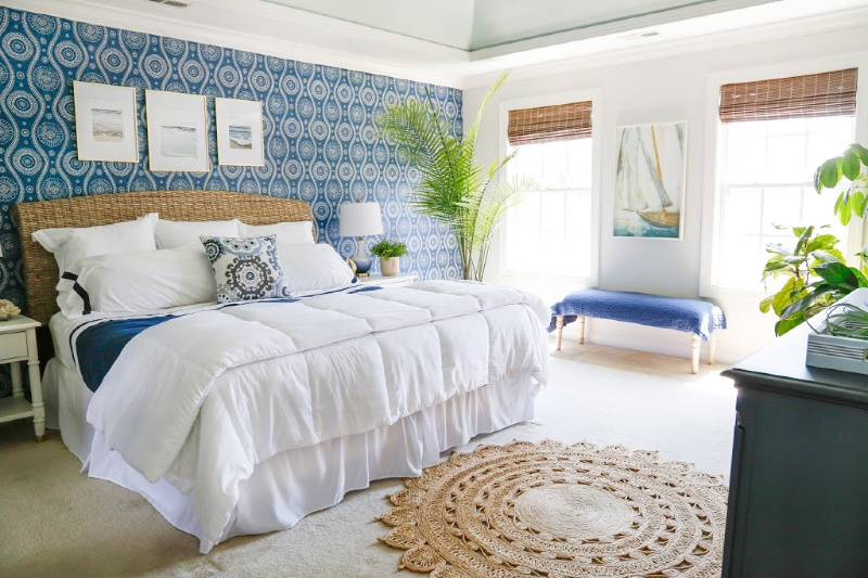 Blue and White Coastal Bedroom