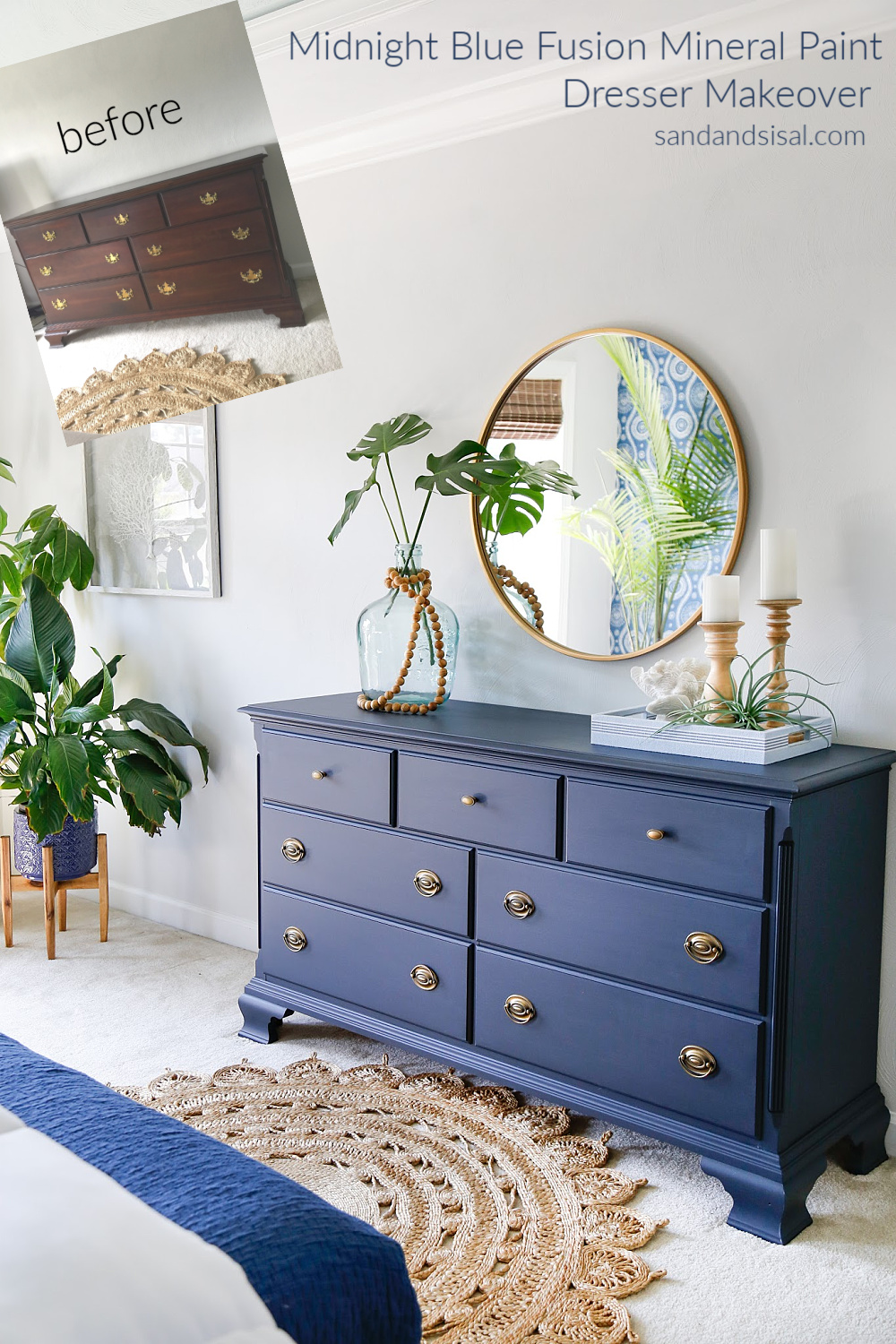 Midnight Blue Fusion Mineral Paint Dresser Makeover