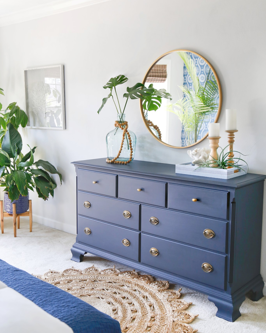 Navy Blue Dresser Makeover