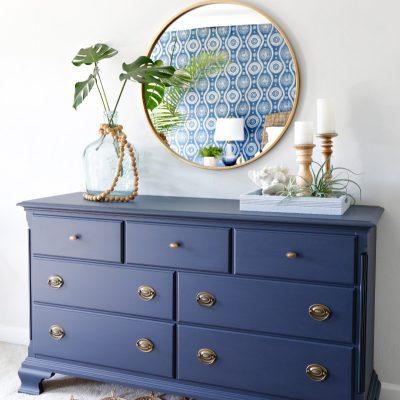 Navy Blue Dresser Makeover