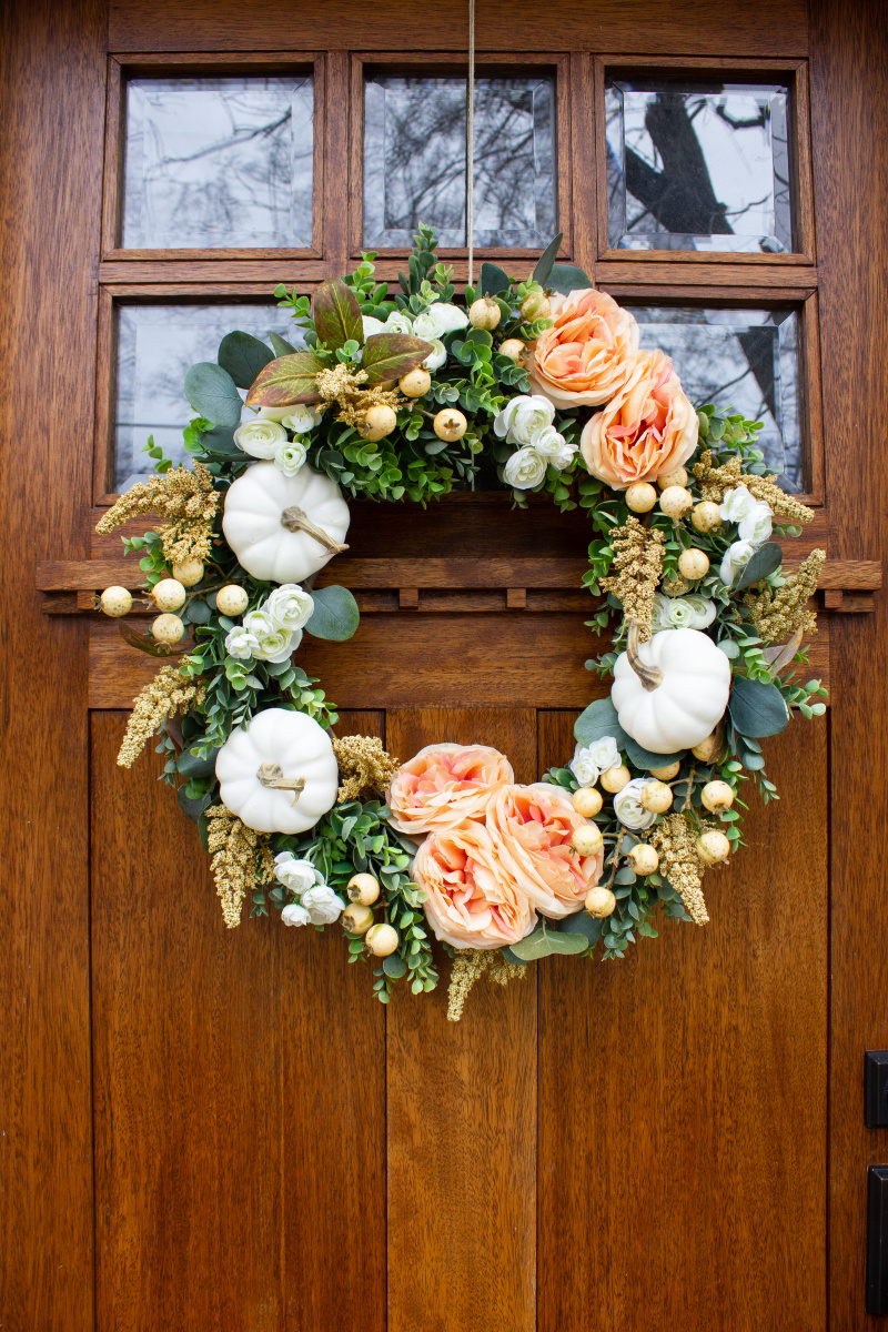 White Pumpkin Floral Fall Wreath