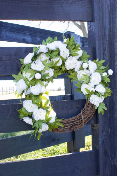 white floral spring wreath