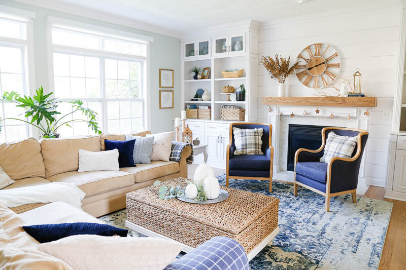 Cozy Neutral Fall Family Room Tour | Sand and Sisal