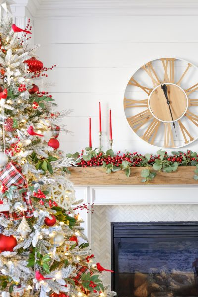 Cranberry Christmas Mantel