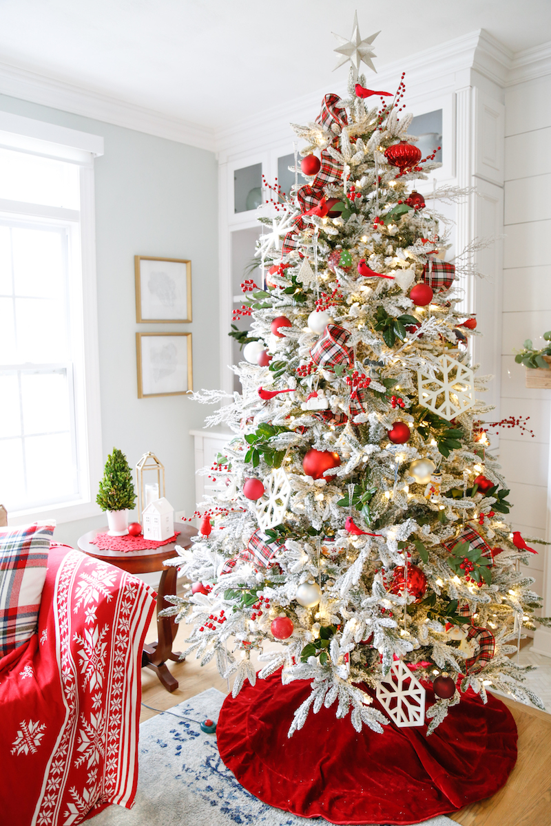 Red and White Flocked Christmas Tree 2