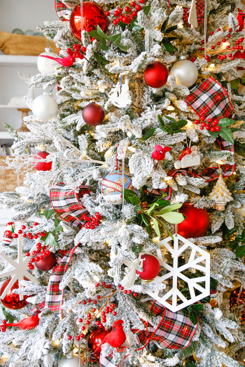 Red and White Flocked Christmas Tree 3