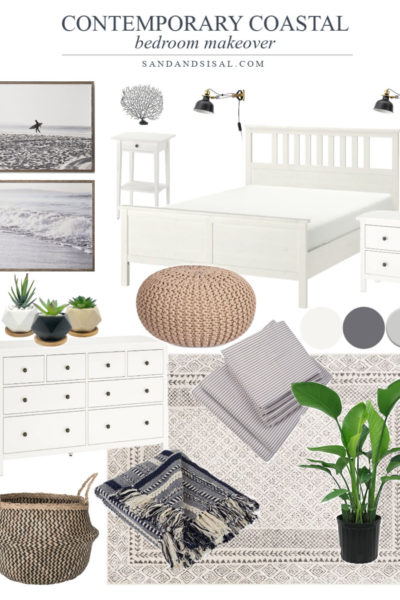 Contemporary coastal Bedroom design board