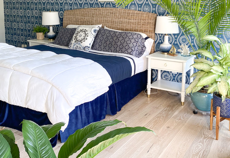 Coastal Blues Master Bedroom - Palmetto Road Flooring