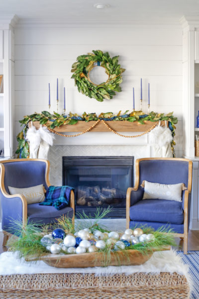 Blue and Green Plaid Christmas - Mantel